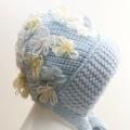 可愛いニット帽子 サックス フリーサイズ (1611-2296)