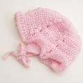 可愛いニット帽子 手編み ピンク フリーサイズ (1611-2313)