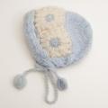 日本製 可愛いニット帽子 手編み サックス フリーサイズ (1611-2328)