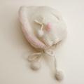 日本製 可愛いニット帽子 白ぼんぼり フリーサイズ (1611-2331)