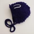日本製 可愛いニット帽子 手編み ネイビー耳 フリーサイズ (1611-2337)