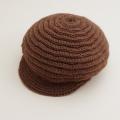 日本製 可愛いニット帽子 手編み ブラウン フリーサイズ (1611-2340)