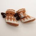 日本製 フクスケの毛糸手編み靴下  9-18か月用(11cm) (1612-2798)