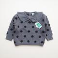 日本製 おとぎの国の襟付きニットセーター  グレー 1才/2才 (1701-3241)