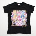 ハピネスチャージプリキュア フラワー&リボンフレーム 半袖 Tシャツ ブラック 2237633-BK