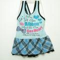 CAN HEART  ワンピース水着 キッズ 女児水着 リボン ブルー110-120m (3140-383-BU) 【メール便可】