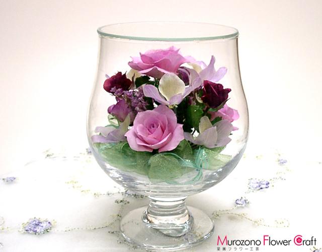 お見舞いギフトボトルフラワー 誕生日のギフトに最適 バラ C-02グラスS(ピンク)
