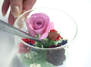 ボトルフラワー教材キット ボトルフラワーが簡単にできる お花・道具・ボトルフラワーガラス容器付き・作り方説明書付体験キット1