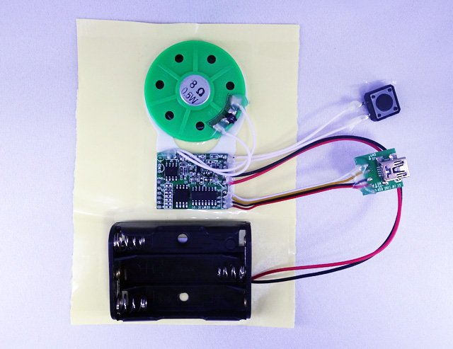 MK-142D MP3再生可能!組込み用超薄型ボイスプレーヤーボード完成品(スピーカー、USB、内蔵メモリ付き)