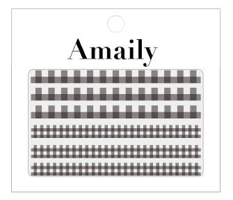 Amaily ネイルシール No.5-5 ギンガムチェック 黒