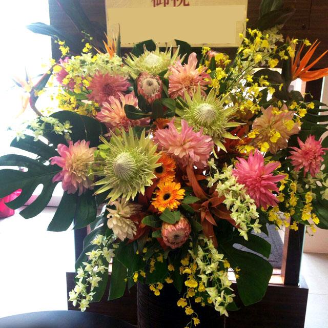 公演祝い スタンド花 二子玉川の花屋 ネイティブフラワーイーダ お祝いスタンド花 MATSURI 祭り