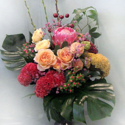 市谷砂土原町に贈る大きなアレンジメント プロテアとバラ