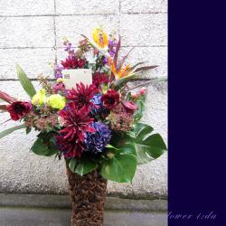 代官山に贈るお祝い花 大きなアレンジメント 【生花アレンジ】パープルバーガンディー