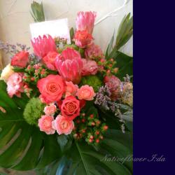 新宿区に贈るスタンド花 アレンジメント 【生花アレンジ】ジプシーレッド