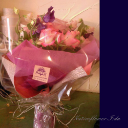 明治神宮 花束 ピンク薔薇と草花