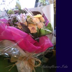明治神宮 花束 ホワイトベージュインパクト 二子玉川の花屋 ネイティブフラワーイーダ