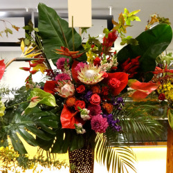 開店祝いに贈るスタンド花 ヘルコニアとグラマト