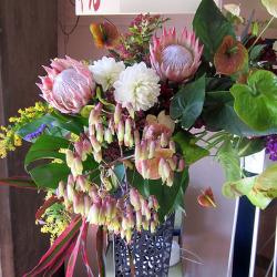 宮坂に贈るお祝いスタンド花 ビックリアンスリウム