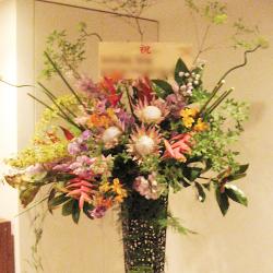 赤坂に贈るお祝いスタンド花 フラミンゴ