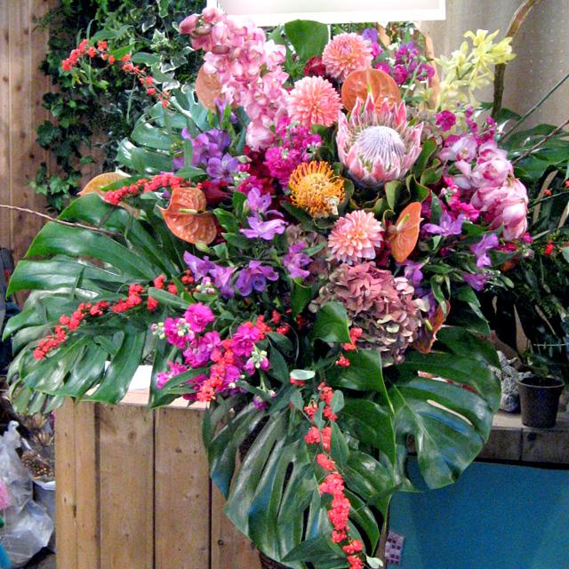 お祝いスタンド花 東京 モンステラとサンダーソニア 二子玉川の花屋 ネイティブフラワーイーダ