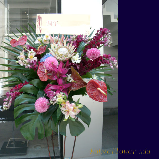 お祝いスタンド花 クリムソン 二子玉川の花屋 ネイティブフラワーイーダ