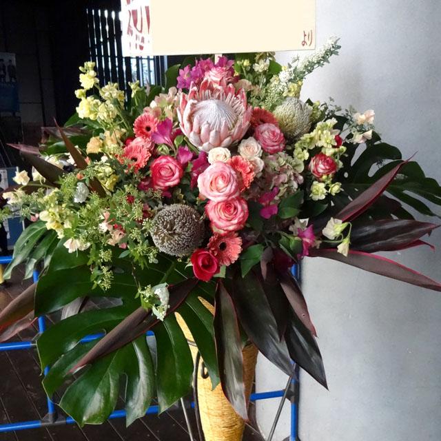 開店祝いスタンド花 お祝いスタンド花 スタンド花 ラウンドピンク 二子玉川の花屋 ネイティブフラワーイーダ