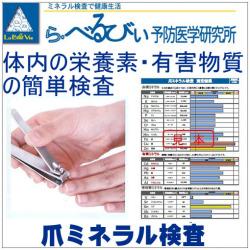 爪ミネラル検査 デトックス、キレート、デトックスダイエット、毒抜きの目安に