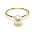 14kgfアコヤパール指輪(あこや真珠)リング6〜6.5mm(ラウンド)(サイズ目安:7号)「ゴールドフィルド」(1個)
