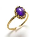 天然石アメジスト・指輪ハンマードリング(カボションオーバル・8×6mm)(真鍮ブラス・ゴールドカラー)(1個)