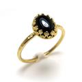 天然石ブラックオニキス・指輪ハンマードリング(カボションオーバル・8×6mm)(真鍮ブラス・ゴールドカラー)(1個)