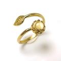 天然石シトリン指輪リング・リーフ(ベゼルカボションラウンド・6mm)(真鍮ブラス・ゴールドカラー)(1個)