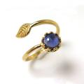 天然石アイオライト指輪リング・リーフ(ベゼルカボションラウンド・6mm)(真鍮ブラス・ゴールドカラー)(1個)