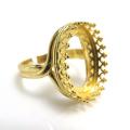 指輪リング空枠クラウン(ベゼルセッティング/カボション用)(オーバル16×12mm)(真鍮ブラス・ゴールドカラー)(1個)