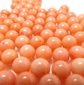 コーラル ルース(珊瑚・サンゴ)(染・ピンク)/片穴 プレーンラウンド 6mm(15個)