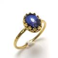 天然石アイオライト・指輪ハンマードリング(カボションオーバル・8×6mm)(真鍮ブラス・ゴールドカラー)(1個)