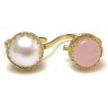 淡水パール(真珠)12mm+天然石ピンクカルセドニー10mm(ベゼルラウンド)(真鍮ブラス・ゴールドカラー)(1個)