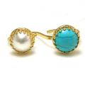 淡水パール(真珠)10mm+天然石ターコイズ12mm(ベゼルラウンド)(真鍮ブラス・ゴールドカラー)(1個)