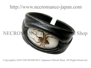 【ネクロマンス NECROMANCE】 リアルスパイダー レザーバングル  Real Spider Leather Bangle 蜘蛛 革