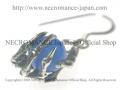【ネクロマンス NECROMANCE】 ブルーアゲート ボーンハンドピアス Blue Agate Bone Hand Pierce 青めのう 骸骨
