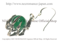 【ネクロマンス NECROMANCE】 グリーンアゲート ボーンハンドピアス Green Agate Bone Hand Pierce 緑めのう 骸骨