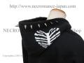 【ネクロマンス NECROMANCE】 スタッズ ハートリブスケルトン ジップアップパーカー <13粒> Stads Heart Rib Skeleton hooded sweatshirt 骸骨 肋骨 心臓