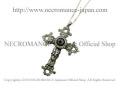【ネクロマンス NECROMANCE】【限定】 シルバーローズロザリオ義眼ネックレス Silver Rose Rosary Glass Eye Necklace <ブルー/Blue/青>十字架 クロス 目玉