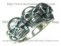 【ネクロマンス NECROMANCE】 スリースカルリング Three Skull Ring 骸骨 指輪