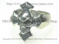 【ネクロマンス NECROMANCE】 クロススカルリング Silver Cross Skull Ring 骸骨 十字架 シルバー 指輪