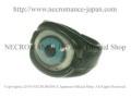 【ネクロマンス NECROMANCE】 レザー義眼リング Leather Eye Ring <ブライトブルー/Brigt Blue/青> 目玉 革