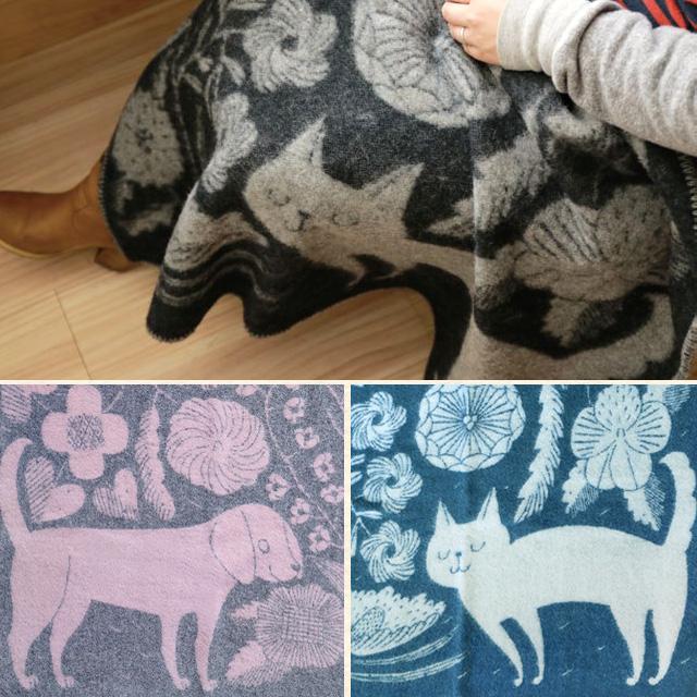 北欧ウールブランケット 猫、犬、花柄