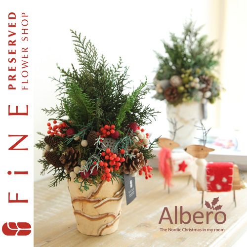 アルベロ(X対象)|クリスマス/インテリアグリーン/北欧/ノルディック/クリスマスツリー/プリザーブドフラワー【有料バッグ:L対応】