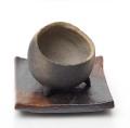 炭化焼締鉢丸下皿小2013m