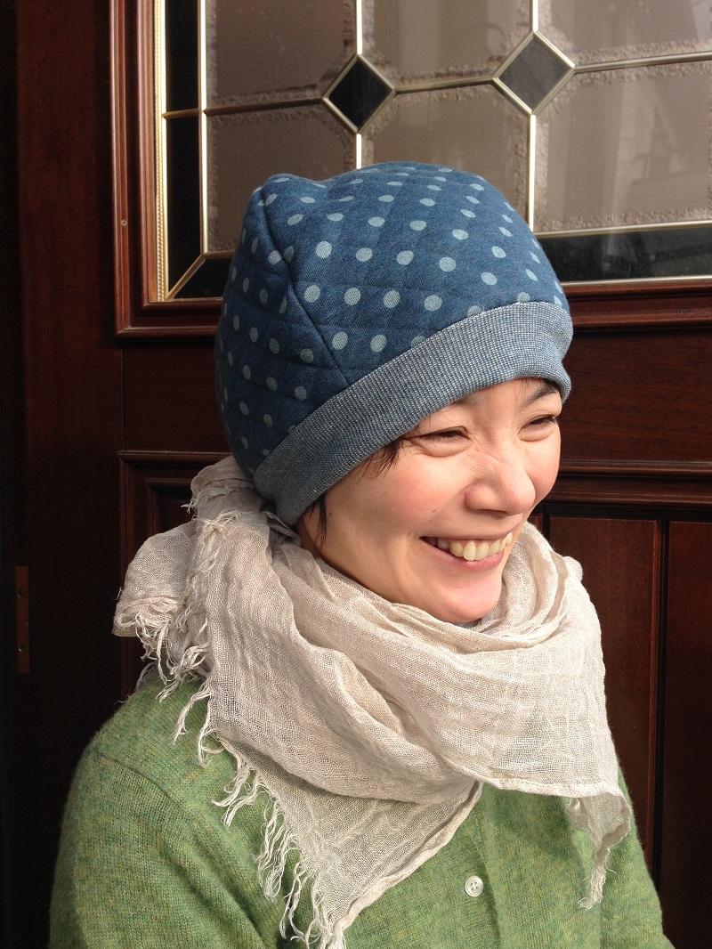 ほんわかキルトニット帽(ブルー)