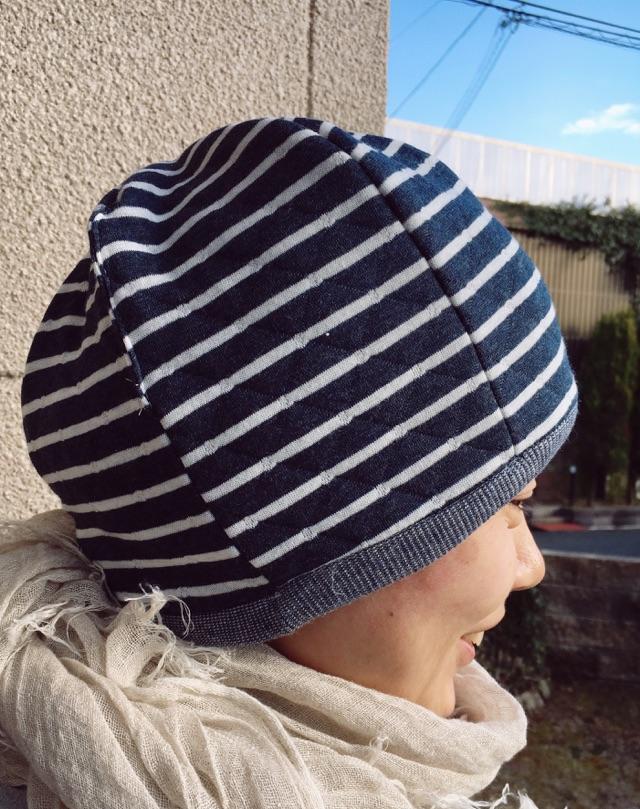 【セミオーダー】ふんわり可愛いリバーシブルコットン帽子(ネイビー)